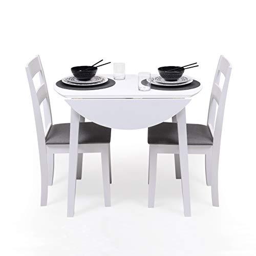 Conjunto de Comedor Dallas White Mesa de Comedor Redonda Extensible de 90 cm (17,5/55 / 17,5) cm y 2 sillas de Comedor de Madera Lacado en Blanco