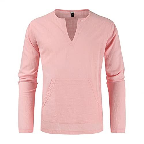Camiseta para hombre cómoda de lino, cuello en V, color sólido, manga larga, monocolor, manga larga, A_rosa., XXL