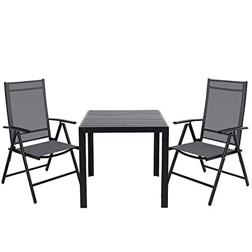 Set di 2 Sedie Pieghevoli e 1 Tavolo in Alluminio, Schienale Regolabile a 7 Angolazioni, Tavolo da Giardino con Sedie, Set di Mobili Resistenti alle Intemperie per Terrazza, Cortile, Bar, Balcone