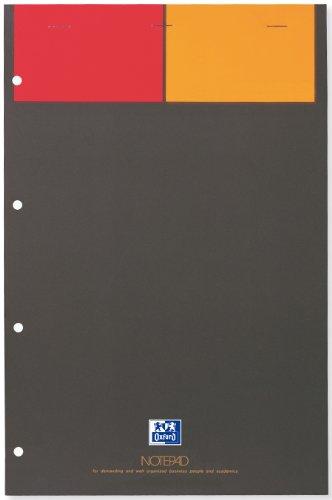 "OXFORD 100101876 \""International\"" Notepad | 1 Stück | A4+ | 80 g/m² | kariert 5 mm | 4-fach gelocht | 80 Blatt | Notizblock miit Klammerheftung | grau"