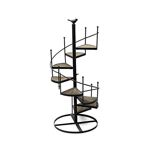 ZHANGJINYISHOP2016 Moderno estante decorativo de hierro para plantas plantas suculentas estante de 8 capas forma escalera escritorio jardín flor soporte + placa de madera