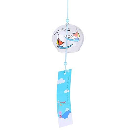 Garneck Campanas de Viento Japonesas Campanas de Viento de Vidrio Campana de Viento Colgante Creativa para Decoración de SPA Jardín de Oficina Decoración del Hogar
