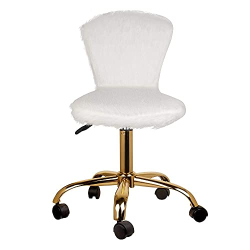 Cute Fluffy Faux Fur Fuzzy White Makeup Vanity Chairs with Golden Base - Adjustable Armless Swivel Rolling Furry Student Office Desk Chairs for Women Kids Child Teens Girls - 1 Pack