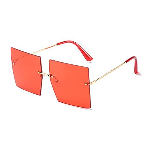 Sunglasses Gafas de Sol de Moda Gafas De Sol Marrones De Una Pieza De Gran Tamaño Hombres Mujeres Gafas De Sol Cuadradas