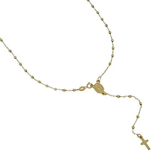 Rosario de oro de 18 quilates 750/1000 con Virgen y bolas facetadas unisex