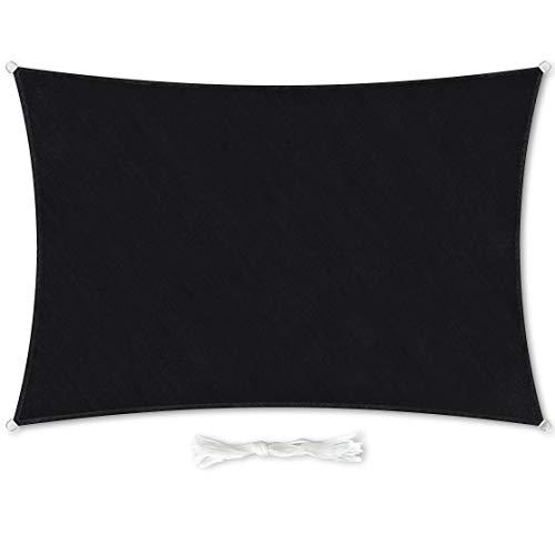 Premium Sonnensegel Rechteckig 3x4m schwarz inkl. Befestigungsseilen aus wetterbeständingen HDPE | Sonnenschutz Schattenspender Garten Balkon Camping & Terrasse - UV Schutz Wetterschutz