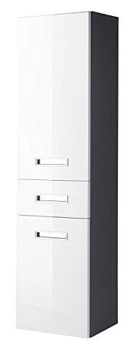 Hochschrank Bad | Grau | Weiß Hochglanz | 2 Türen, 1 Schubkasten | (BxHxT) 38x150x31 cm