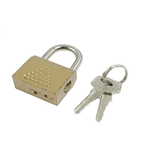 New Lon0167 Household Cabinet Featured Door Jewlery Box Reliable Efficacy Part Safety Brass Padlock Lock Gold Tone(id:3db ff f9 fc0)
