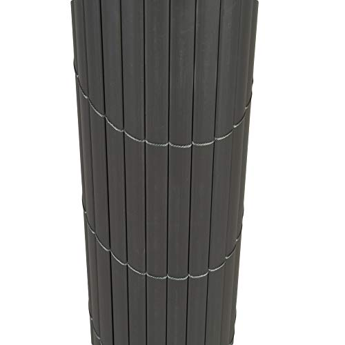 TOP MULTI PVC Sichtschutz-Matte für Balkon/Garten 1,2m x 5m anthrazit-grau | Sichtschutz-Zaun inkl. Befestigung + wetterfest | Windschutz-Matte | Blende | Blickschutz-Zaun | Balkon-Verkleidung