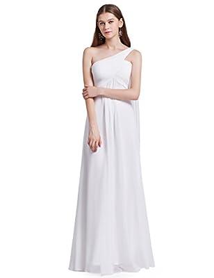 Ever-Pretty Womens Elegant One Shoulder Trailing Evening Dress 14 US White