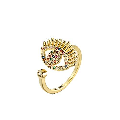 Anillo abierto de color dorado para mujer, anillo de piedra de color arcoíris, tamaño ajustable