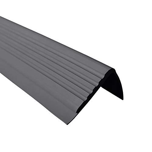 Anti-Rutsch Treppenkantenprofil für Treppenstufen Winkelprofil PVC Gummi PMW, 1.5 Meter, 48x42mm (dunkelgrau)