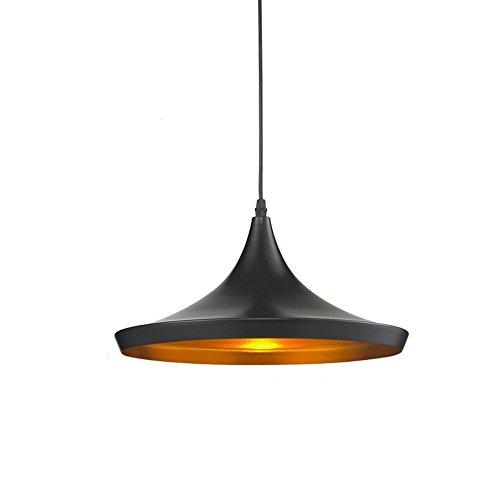 Glighone Modern Pendelleuchte Schwarz Industrie Hängeampe Metall Retro-Deckenleuchte E27 ⌀36cm für Esstisch Esszimmer Wohnzimmer Schlafzimmer Küche Flur Bar Cafe´ .(außen schwarz innen gold)