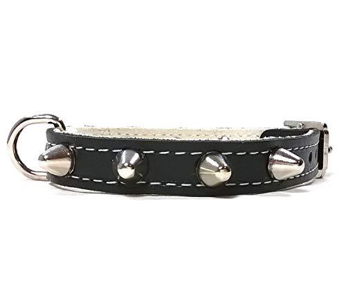 Superpipapo Hunde-Halsband, Handmade Schwarz Leder Design mit Nieten, Robuste Ausgefallene Qualität für Welpen, Chihuahuas und Kleine Hunde, 25 cm XXXS: Halsumfang 15-20 cm, Breit 13mm