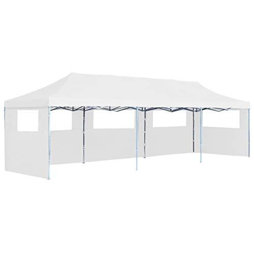 vidaXL Tente de Réception Escamotable Pliable avec 5 Parois Tonnelle d'Extérieur Chapiteau de Jardin Voyage de Camping Barbecue Mariage 3x9 m Blanc