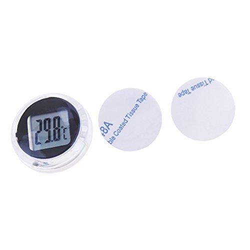 H HILABEE Universal Mini Thermometer LCD Display Digitale Temperaturanzeige Anzeige Für Motorräder Auto LKW Roller, Selbstklebend, Wasserdicht - Schwarz