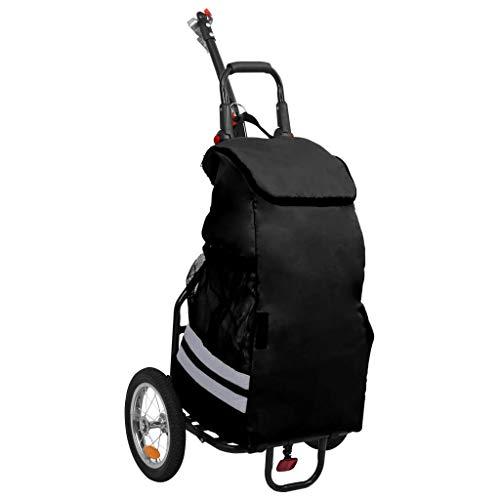 vidaXL Remorque de Vélo Pliable avec Sac d'Epicerie Chariot de Courses Poussette de Marché Chariot d'Achat Shopping Excursion Noir