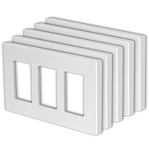 """[5 Pack] BESTTEN 3-Gang USWP4 White Series Screwless Wall Plate, Decorator Outlet Cover, H4.69"""" x W6.54"""", for Light Switch, Dimmer, USB, GFCI, Receptacle"""