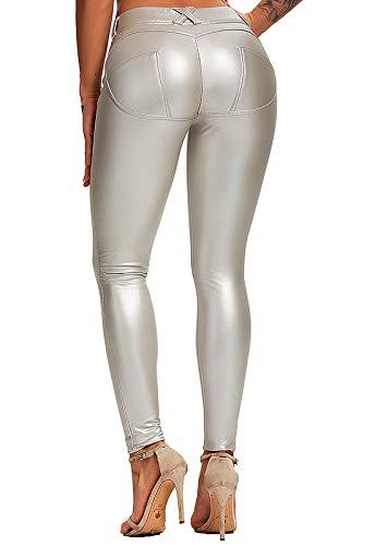FITTOO PU Leggings Cuero Imitación Pantalón Elásticos Cintura Alta Push Up para Mujer #1 Bolsillo...