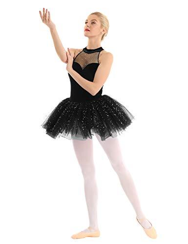 CHICTRY Vestido Tutú de Ballet Mujer Disfraz Bailarina Adultas Vestido Lentejuelas Sin Mangas Chicas Falda Tul para Actuación Danza Negro Small