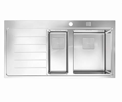 Teka 115130002 - Fregadero de cocina de acero inoxidable con un solo plato y medio plato Zenit RS15 11⁄2B 1D L 2Ø AUTO WST-left-115130002, color gris