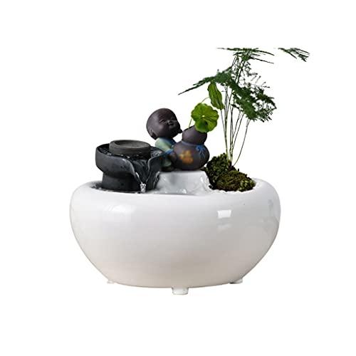 MKVRS Artigianato ceramico Artigianato Ornamenti Fontana, Cinese Zen Desktop Paesaggio Decorativo, Regalo Fortunato per la casa Soggiorno Ufficio (Color : White)