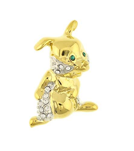 behave Mujer Broche en Forma de Conejo con pedrería Hecho de Metal - Color Dorado - 4cm tamaño