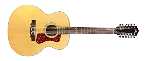 Guild Guitars F-2512E Maple 12-string Acoustic Guitar, Blonde Jumbo Archback Solid...