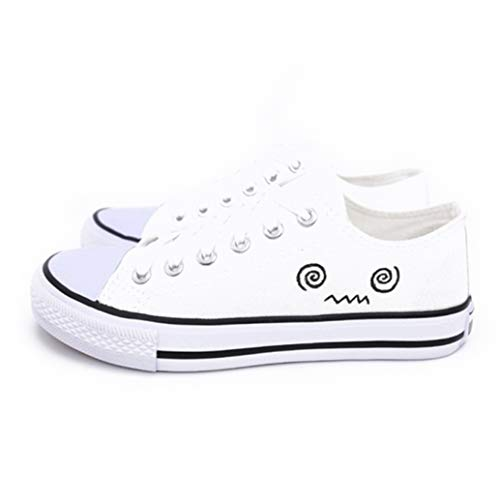 Women Canvas Shoes Summer Fashion Flat Hand Painted Cute Emoji White Casual Shoes Female Low Top Vulcanized Sneakers