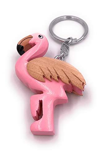 Onwomania Ciondolo Portachiavi in Legno Flamingo Rosa Fenicottero Rosa con Pendenti Animali vertebrati