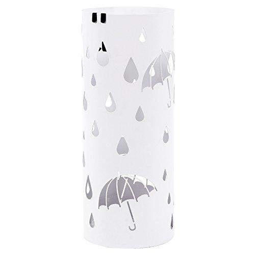 SONGMICS 傘立て おしゃれ スリム かわいい 水受けトレイ付き 折り畳み傘兼用 玄関 収納 白 NLUC23W