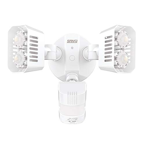 SANSI Faretto di sicurezza a LED per esterni con sensore di movimento, 18W (equivalente a 150 Watt) proiettori dal tramonto all'alba, 5000K luce diurna, luminoso 1800lm, impermeabile IP65
