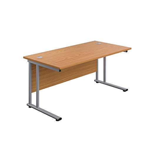 Office Hippo Professional Cantilever Office Desk, Wood, Oak, Silver Frame, 120 x 80 x 73 cm