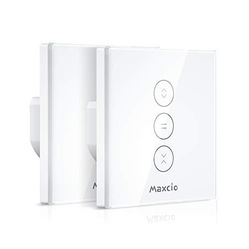 【Schaltbares LED】Alexa Rolladen Zeitschaltuhr, Maxcio Smart Jalousien Vorhang Schalter, Kompatibel mit Alexa und Google Home, APP Fernbedienung und Timer-Funktion, Touch-Schalter - 2 Packs