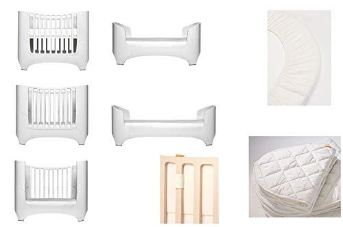 Blanc Leander pour bébé et lit bébé + 1 kit (= 2 pièces) original de draps housse dans la taille bébé + 1 surmatelas dans la taille bébé + Baby Tour de lit en Vanilla Crème