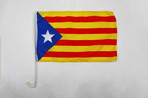 AZ FLAG AUTOFAHNE KATALONIEN ESTELADA BLAVA 45x30cm - AUTONOMEN KATALANISCHEN AUTOFLAGGE 30 x 45 cm Auto flaggen