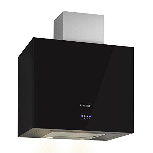 KLARSTEIN Cuboo Campana extractora de Humo (Capacidad absorción hasta 340 m³/h, 3 Niveles Potencia, iluminación LED integrada, Forma cúbica, Poco Ruido, Frontal Negro)