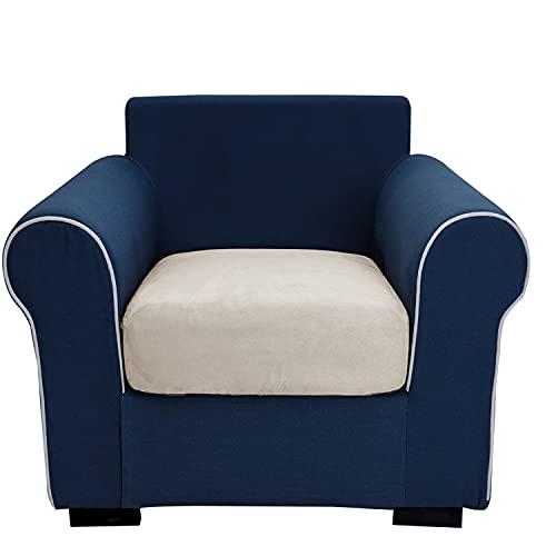 THJ Funda de cojín antideslizante de terciopelo elástico para sofá, fundas de asiento de sofá extraíbles con parte inferior elástica, lavable, protector (color crema)