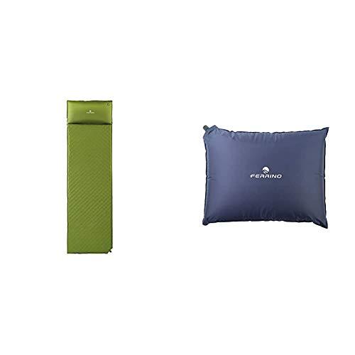 Ferrino Dream, Materassino da Campeggio Verde, 180x51x3,5 cm & Cuscino Gonfiabile Goffrato Unisex Blu, 40x30x7 cm
