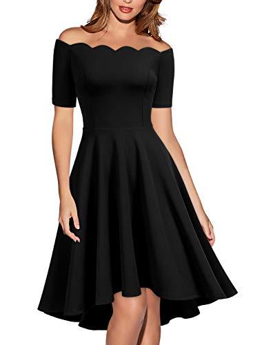 Miusol Women's Retro 1950s Style Short Sleeve Evening Party Dress,Medium,Black