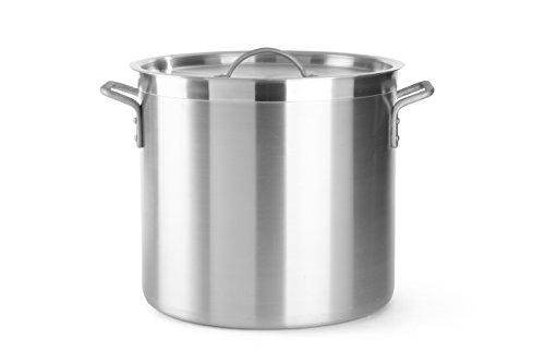HENDI Kochtopf, mit Deckel, Geeignet für Gasherd, Elektroherd, Ceranherd, Bratentopf, Fleischtopf, 38,5L, ø375x(H)360mm, Aluminium