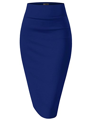 Womens Pencil Skirt for Office Wear KSK43584 1017 Royal X Large