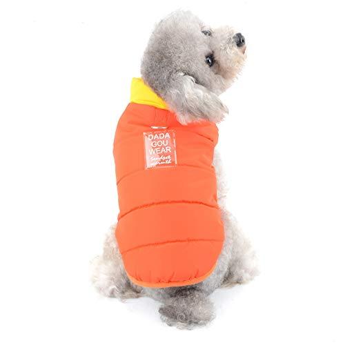 SELMAI Hundemantel Winter Kleine Hunde Yorkshire Terrier Kleidung für Chihuahua Hundeweste Winterjacke mit Geschirr Winddichtes Alpiner Ski Parka der Sport im Freien Spielt Orange L