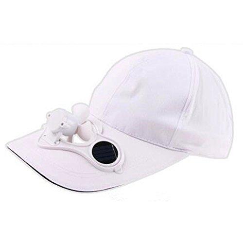 Ocamo - Cappellino da golf con ventilatore a energia solare, unisex, per attività all aperto bianco