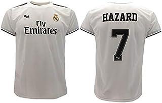 Real Madrid Camiseta de Fútbol Replica Oficial con Licencia Hazard Blanco número 7 en blíster Regalo - Todos Los Tamaños NIÑO y Adulto - 2 años