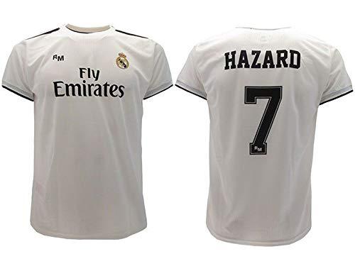 Real Madrid Camiseta de Fútbol Replica Oficial con Licencia Hazard Blanco número 7 en blíster Regalo - Todos Los Tamaños NIÑO y Adulto - small