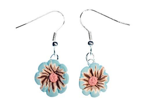 Miniblings Blume türkis Ohrringe Hänger blau Sommer Garten Blumen Handgemacht - Handmade Modeschmuck I Ohrhänger Ohrschmuck versilbert