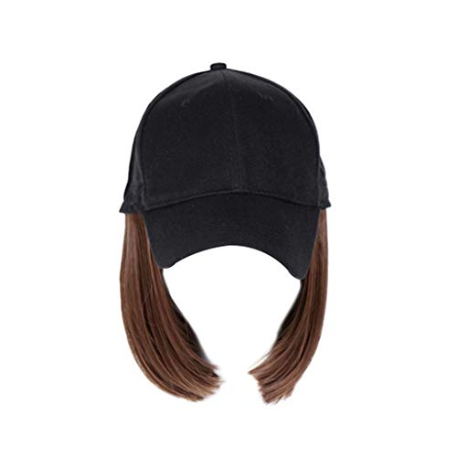 YOURPAI Sombrero de béisbol de una sola pieza, peluca corta de cabeza bobo de pelo sintético con pelucas