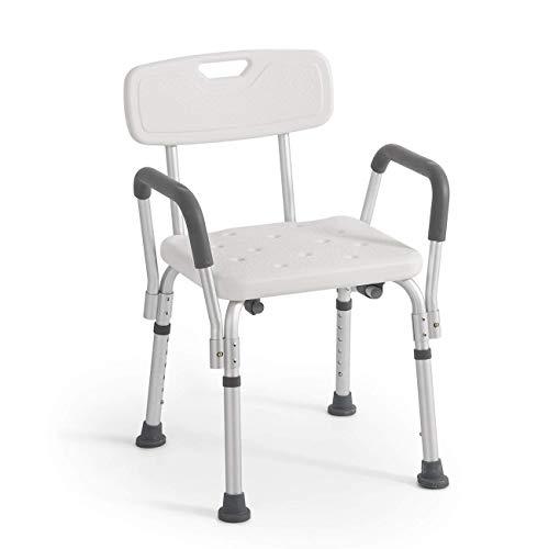 Rheab - Silla de ducha o baño con respaldo y reposabrazos extraíbles, altura regulable, soporte adicional para ancianos