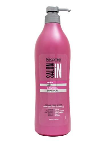 RECAMIER 34127 Professional Salon In | Anti Frizz Salt SLS Free Moisturizing Shampoo | No Residue | Straightening and Deep Cleansing | Hair Flyaway Tamer | Silk Protein | Champu Sin Sulfato